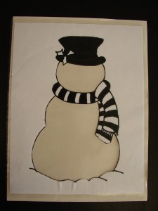 Snowman with white folder