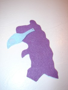Dino tail sewed on