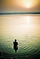 man alone in water