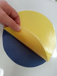 Press Here Yellow on Blue